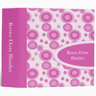 "Hot Pink Retro Dots 2"" Designer Binders"