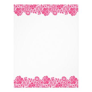 Hot Pink Retro Floral Damask Border Letterhead