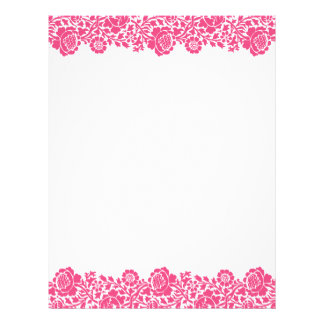 Hot Pink Retro Floral Damask Border Letterhead Template