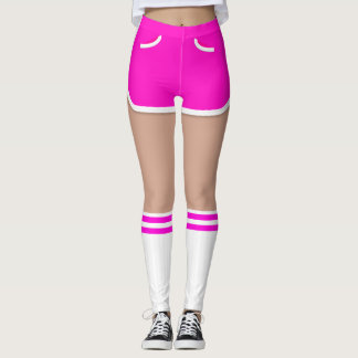 Hot Pink Retro Short Tube Socks Leggings
