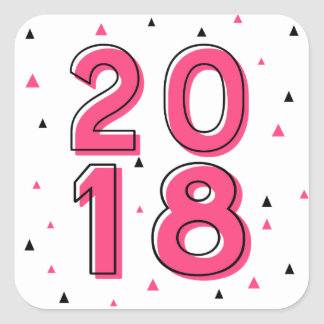 Hot Pink Retro Typography Happy New Year 2018 Square Sticker