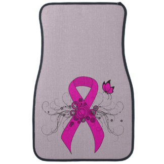 Hot Pink Ribbon with Butterfly Floor Mat