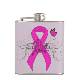 Hot Pink Ribbon with Butterfly Hip Flask