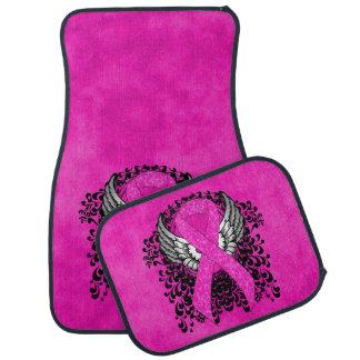 Hot Pink Ribbon with Wings Car Mat