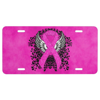 Hot Pink Ribbon with Wings License Plate