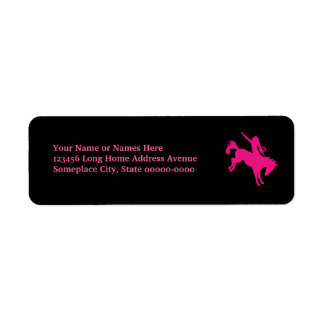 Hot Pink Rodeo Horse Riding Country Cowgirl Art Return Address Label