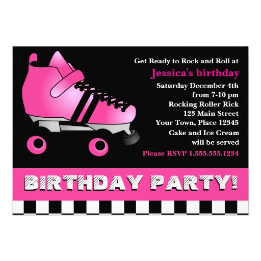 Hot Pink Roller Skate Birthday Party Custom Announcements