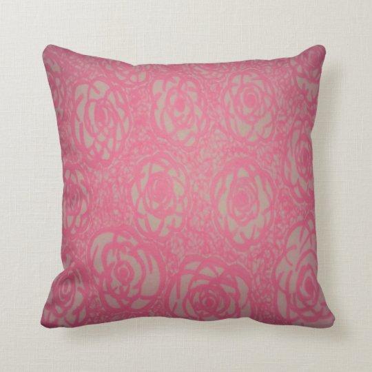 Hot Pink Rose Bed Print Throw Pillow