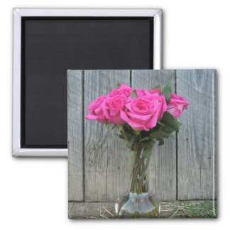 Hot Pink Rose Bouquet At The Barn Square Magnet