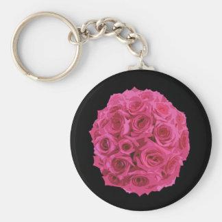 Hot Pink Rose Bouquet Keychain