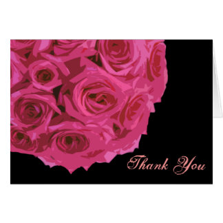 Hot Pink Rose Bouquet Thank You Card
