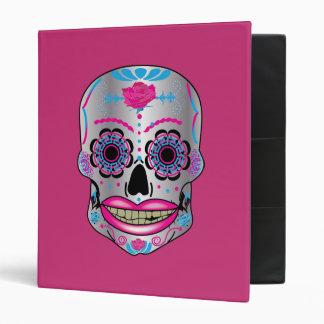 Hot Pink Rose Candy Skull Binder