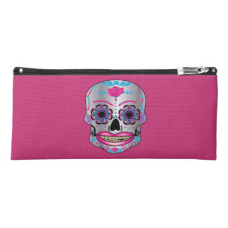 Hot Pink Rose Candy Skull Pencil Case