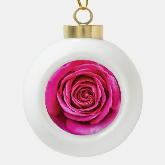Hot Pink Rose Ceramic Ball Ornament