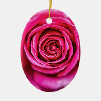 Hot Pink Rose Ceramic Oval Ornament