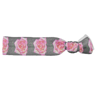 Hot Pink Rose on Black Hair Tie