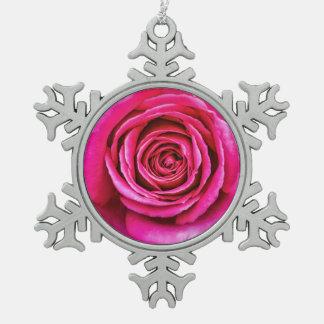 Hot Pink Rose Pewter Snowflake Ornament