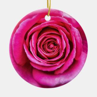 Hot Pink Rose Round Ceramic Ornament