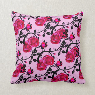 Hot Pink Rose Vine Pillow