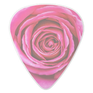 Hot Pink Rose White Delrin Guitar Pick