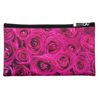 Hot Pink Roses Floral Make Up Cosmetic Bag