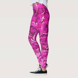 Hot Pink Roses Leggings