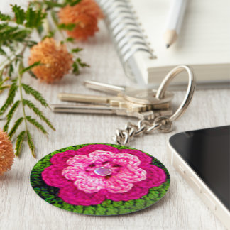 Hot Pink Rosy Flower Green Crochet Print on Keychain
