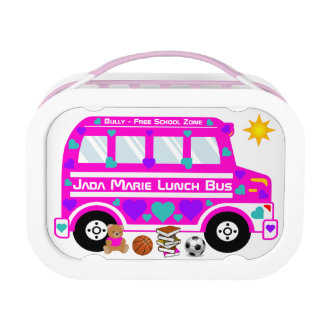 Hot Pink School Lunch Bus Lunch Box