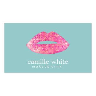 Hot Pink Sequin  Lips Beauty Salon Cute  Teal Business Card