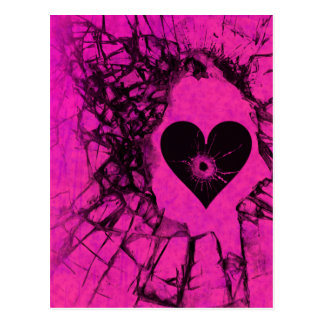 Hot Pink Shattered Broken Heart Postcard