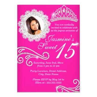 "Hot Pink Silver Diamond Tiara Photo Quinceanera 5"" X 7"" Invitation Card"