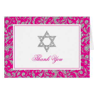 Hot Pink Silver Glitter Swirl Damask Thank You Card