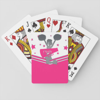 Hot Pink Silver Stars Cheer Cheer-leading Playing Cards