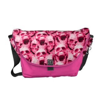 Hot Pink Skulls Messenger Bags