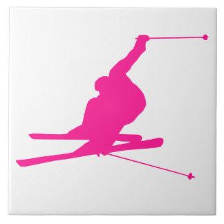 Hot Pink Snow Ski Ceramic Tiles