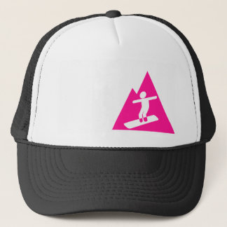 Hot Pink Snowboarding Trucker Hat