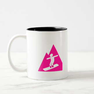 Hot Pink Snowboarding Two-Tone Coffee Mug