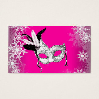 Hot Pink Snowflake Masquerade Party Cards