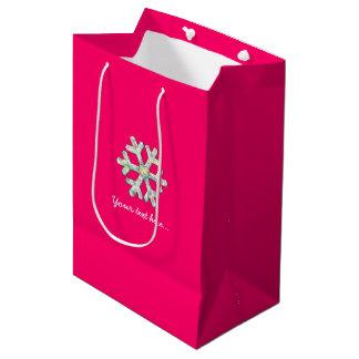Hot Pink Snowflake Pink Christmas Medium Gift Bag
