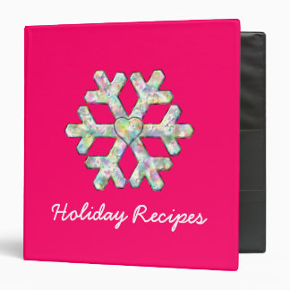 Hot Pink Snowflake Pink Christmas Recipes Vinyl Binder