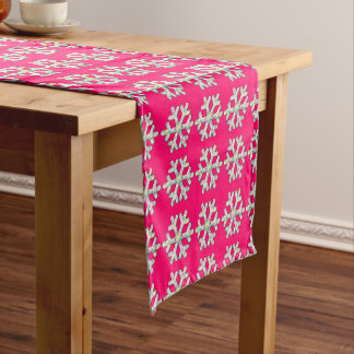 Hot Pink Snowflake Pink Christmas Short Table Runner