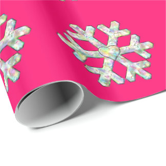 Hot Pink Snowflake Pink Christmas Wrapping Paper