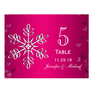 Hot Pink Snowflake Wedding Table Number Cards Postcard