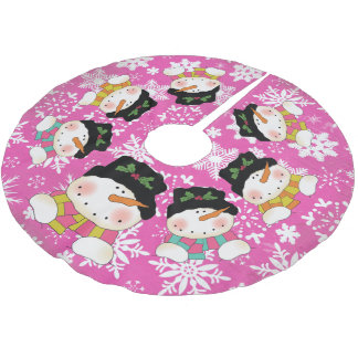 Hot Pink Snowflakes and Snowmen Holiday Tree Skirt