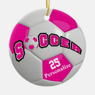 Hot Pink Soccer Ball   Personalize Round Ceramic Ornament