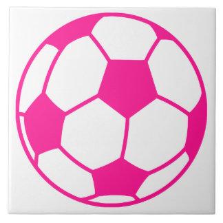 Hot Pink Soccer Ball Tile