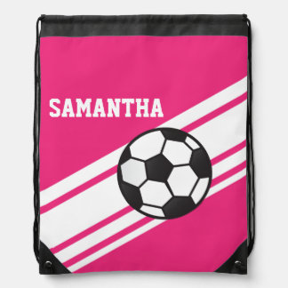 Hot Pink Soccer Stripes Drawstring Backpack