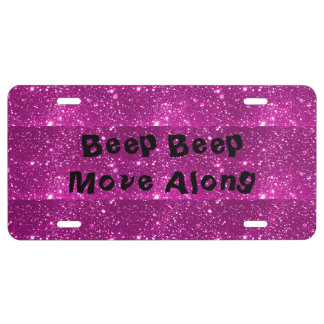 Hot Pink Sparkle License Plate
