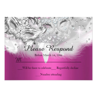 Hot Pink Sparkle Masquerade RSVP Reply Personalized Invitation