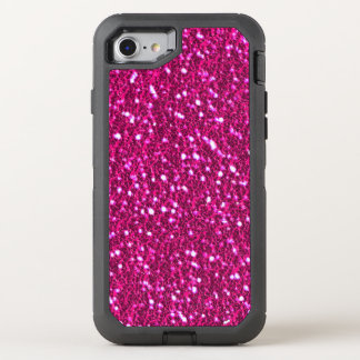 Hot Pink Sparkly Glitter Look Bling OtterBox Defender iPhone 8/7 Case